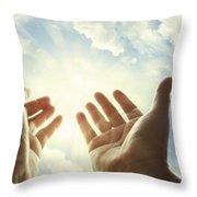 Hands In Sky Throw Pillow