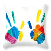 Hands Painted Stamped On Paper Throw Pillow