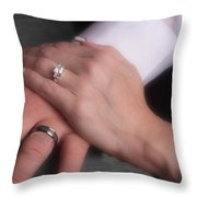 Hands With Wedding Rings Throw Pillow