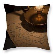 Handwritten Letter By Candle Light Throw Pillow