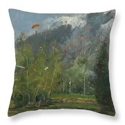 Hang Gliders At Chamonix, 2007 Oil On Canvas Throw Pillow