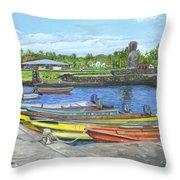 Hanga Roa Harbour Throw Pillow