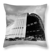 Hangar One At Moffett Field Throw Pillow by Underwood Archives