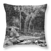 Hanging Bridge In Black And White Throw Pillow