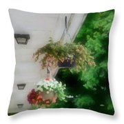 Hanging Flower Baskets On A Porch  Throw Pillow