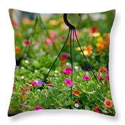 Hanging Flower Baskets Shallow Dof Throw Pillow