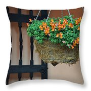 Hanging Flowers And Black Gate Throw Pillow