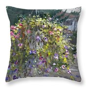 Hanging Flowers From Balcony Throw Pillow