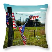 Hanging On - The American Spirit By William Patrick And Sharon Cummings Throw Pillow