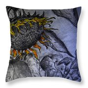Hanging On To Life - Sunflower Throw Pillow
