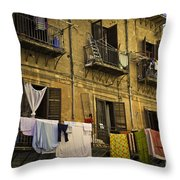 Hanging Out To Dry In Palermo  Throw Pillow