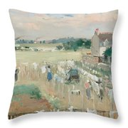 Hanging The Laundry Out To Dry Throw Pillow by Berthe Morisot