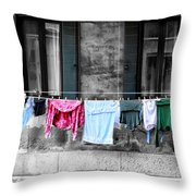 Hanging The Wash In Venice Italy Throw Pillow