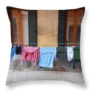 Hanging The Wash In Venice Throw Pillow