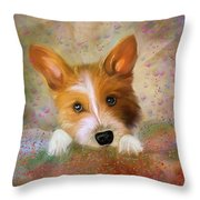 Hankie A Corgi And Westi Mix Cute Dog Throw Pillow