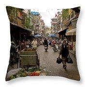 Hanoi Street Market    Throw Pillow
