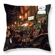 Hanover Street Nights - Boston Throw Pillow