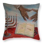 Hanukkah First Night Throw Pillow