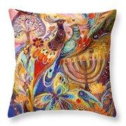 Hanukkah In Magic Garden Throw Pillow