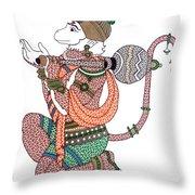 Hanuman Throw Pillow by Kruti Shah