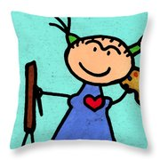 Happi Arte 4 - Frida Kahlo Artist Throw Pillow by Sharon Cummings