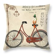 Happiness Is My Bicycle Throw Pillow