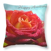 Happy Anniversary Rose Throw Pillow