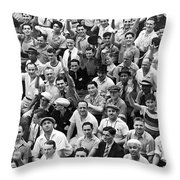 Happy Baseball Fans In The Bleachers At Yankee Stadium. Throw Pillow by Underwood Archives