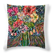Happy Birthday Flowers Throw Pillow