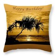 Happy Birthday Golden Sunrise Throw Pillow