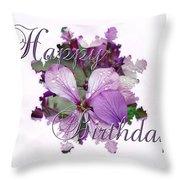 Happy Birthday Greeting Card - Purple Luneria Throw Pillow