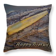 Happy Birthday Greeting Card - Vintage Atom Saltwater Fishing Lure Throw Pillow