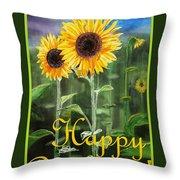 Happy Birthday Happy Sunflowers Couple Throw Pillow