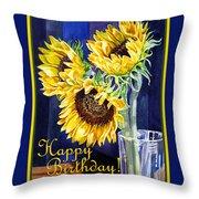 Happy Birthday Happy Sunflowers  Throw Pillow