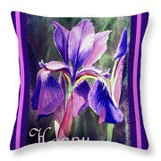 Happy Birthday Iris  Throw Pillow