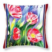 Happy Birthday Pink Poppies Throw Pillow
