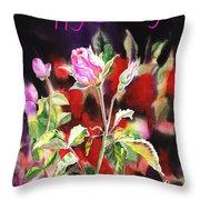 Happy Birthday Rose Throw Pillow