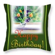 Happy Birthday Tulip Bunch Throw Pillow