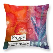 Happy Birthday- Watercolor Floral Card Throw Pillow