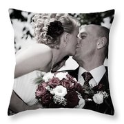 Happy Bride And Groom Kissing Throw Pillow