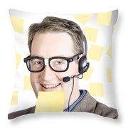Happy Business Man Wearing Helpdesk Headset Throw Pillow