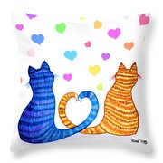 Happy Cats And Hearts Throw Pillow