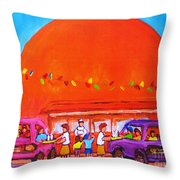 Happy Days At The Big  Orange Throw Pillow