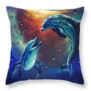 Happy Dolphins Throw Pillow by Marco Antonio Aguilar