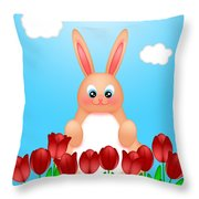 Happy Easter Bunny Rabbit On Field Of Tulips Flowers Throw Pillow
