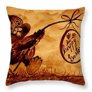Happy Easter Coffee Art Throw Pillow