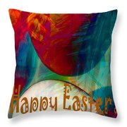 Happy Easter Greeting Card Throw Pillow