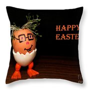 Happy Easter Greeting Card. Funny Eggmen Series Throw Pillow