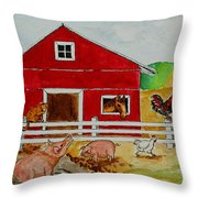 Happy Farm Throw Pillow