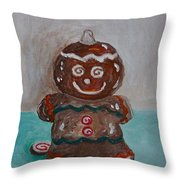 Happy Gingerbread Man Throw Pillow